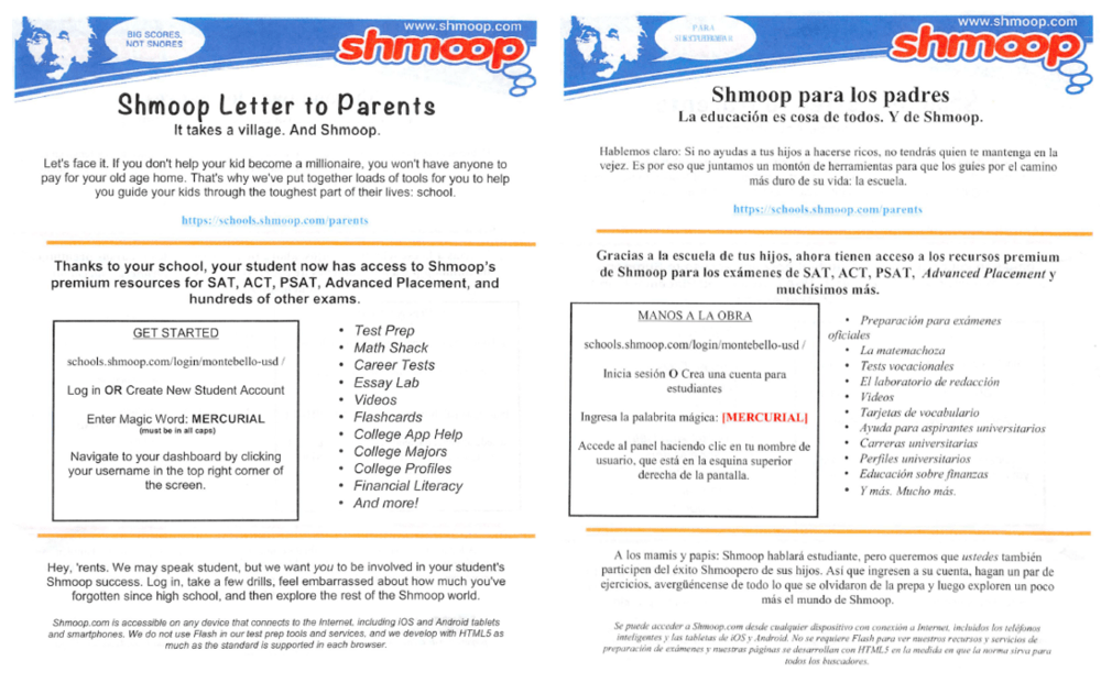 shmoop letter to parents in english and spanish