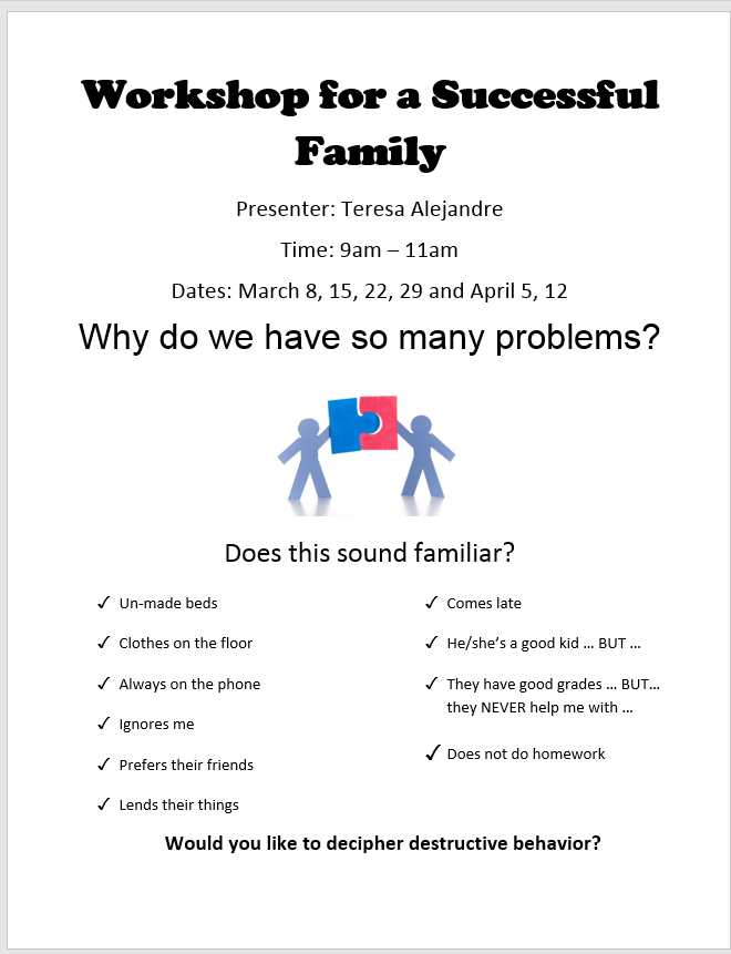 PARENT WORKSHOP FLYER IN ENGLISH